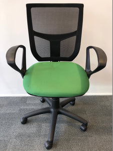 Mesh Back Office Chair With Arms Green - Flogit2us.com
