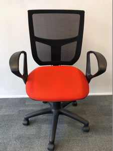 Mesh Back Office Chair With Arms Red