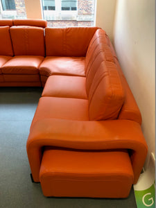 Orange Leather Reception Corner Sofa - Flogit2us.com
