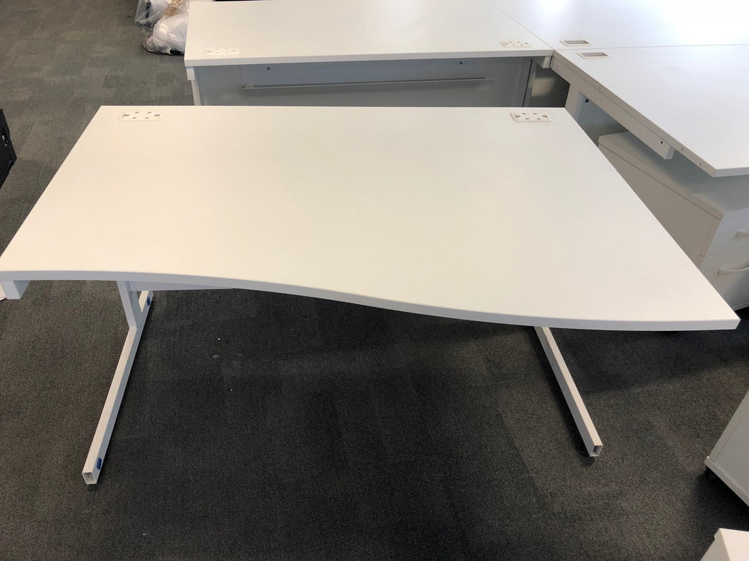 1400mm White Wave Desk Right/Left Hand - Flogit2us.com
