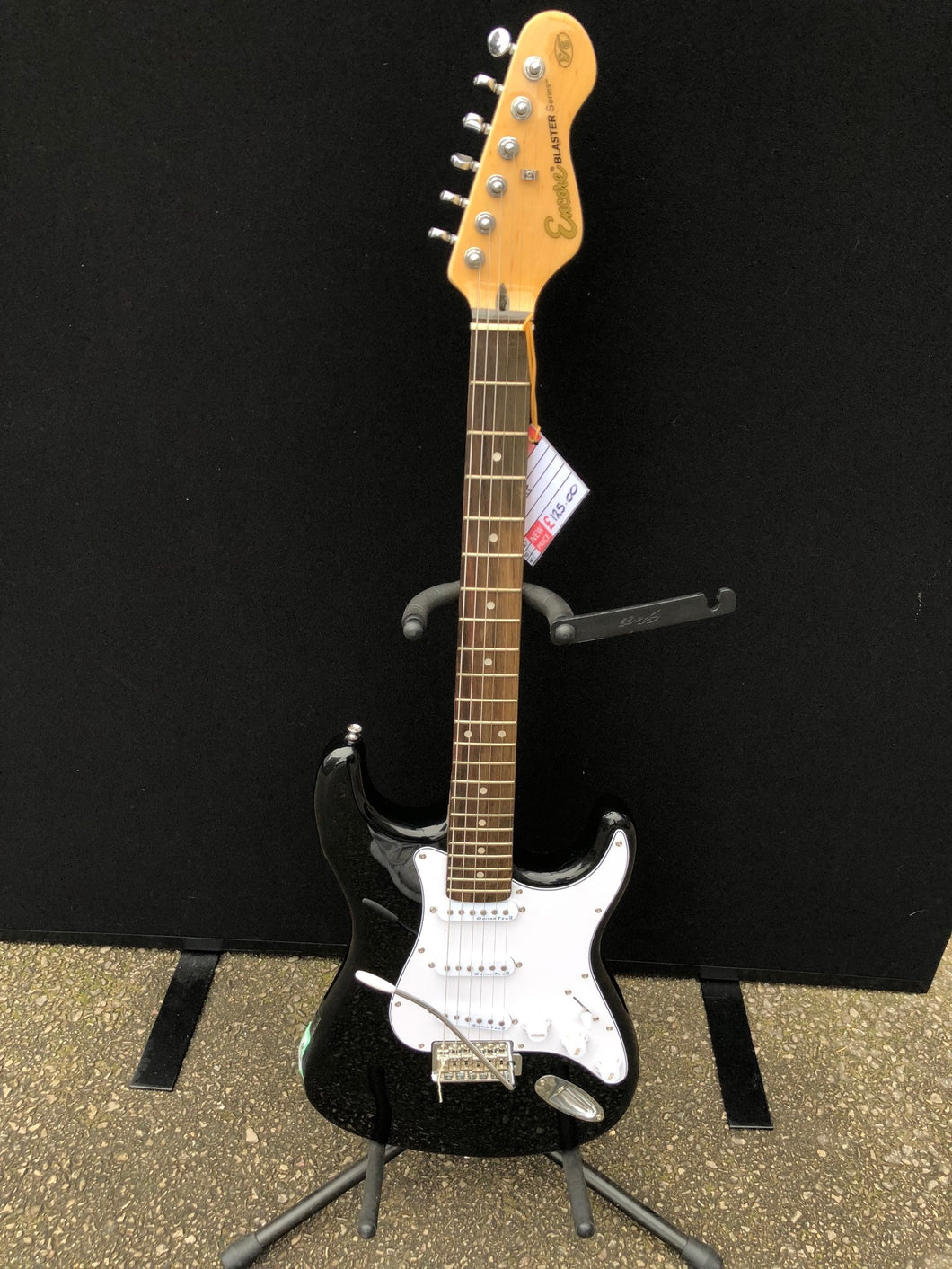 Encore Blaster Series Strat Electric Guitar Black/White - Flogit2us.com