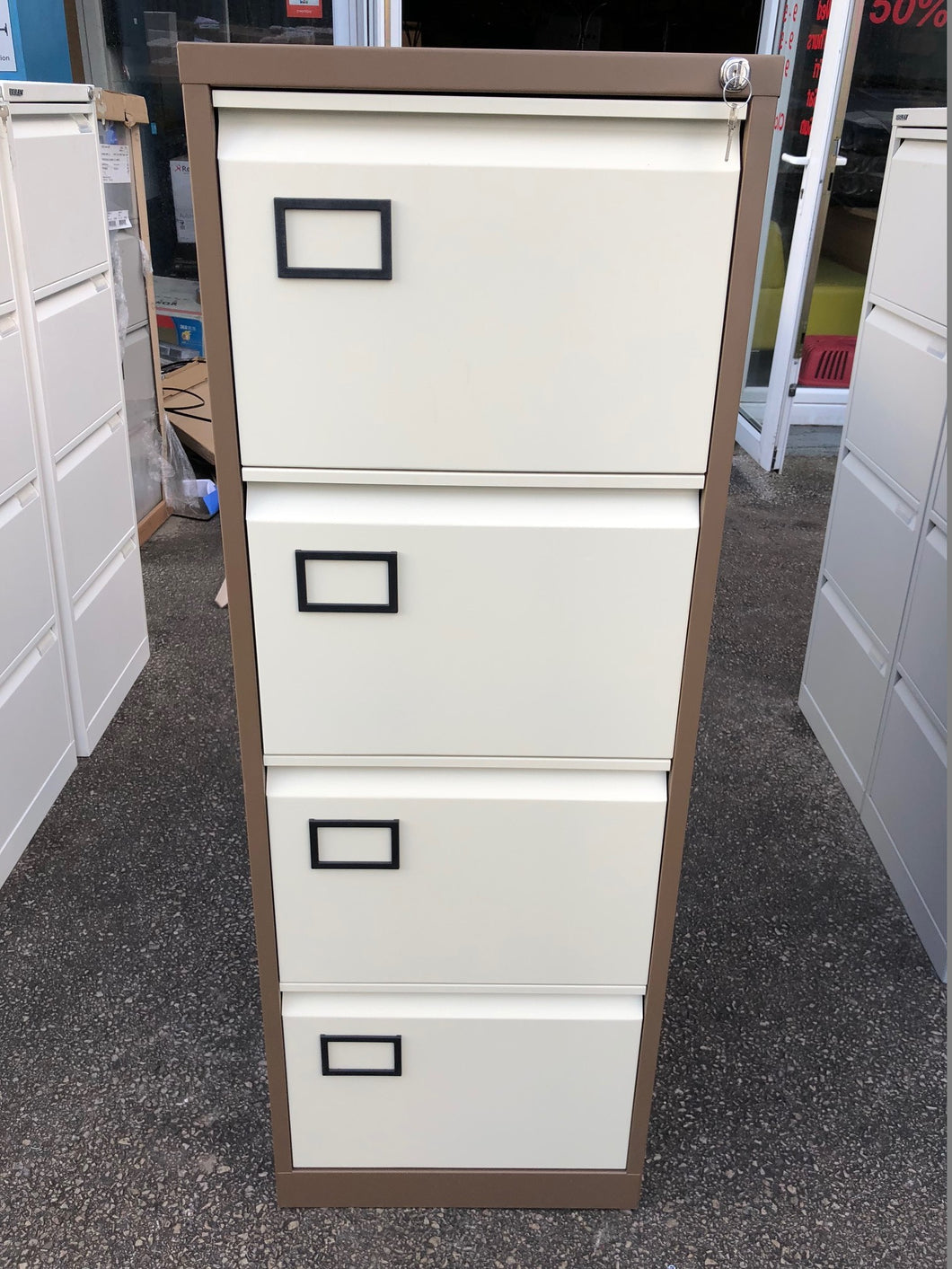 Trexus 4 Drawer Coffee And Cream Filing Cabinet - Flogit2us.com