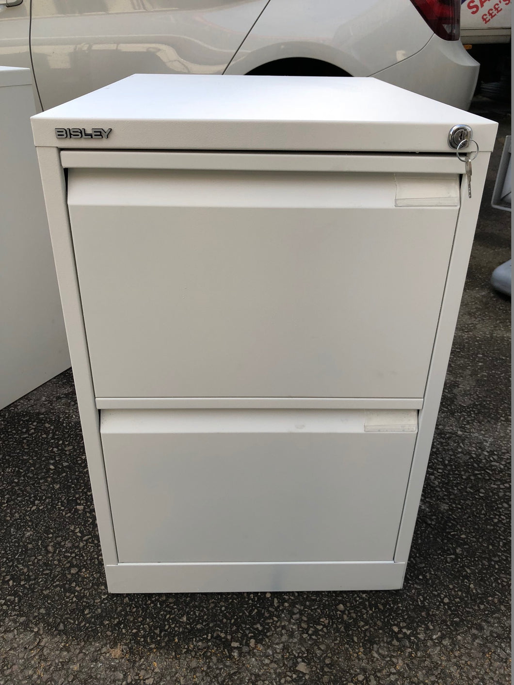 Bisley 2 Drawer White Filing Cabinet