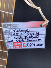 Load image into Gallery viewer, Vintage VEC 501N With USB Socket Acoustic Guitar
