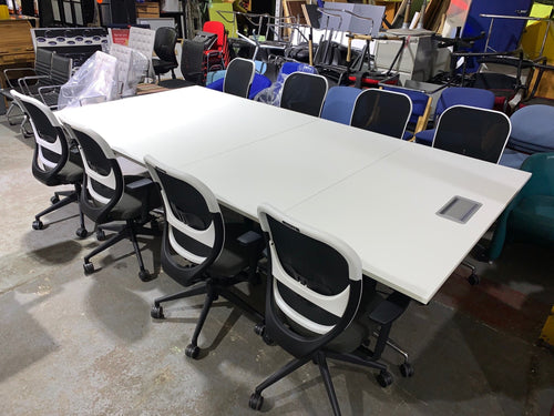 12-14 Person Sectional Flip Top Meeting Table - White - Flogit2us.com