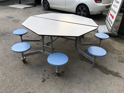 Octagonal Mobile Folding Table Seating Unit