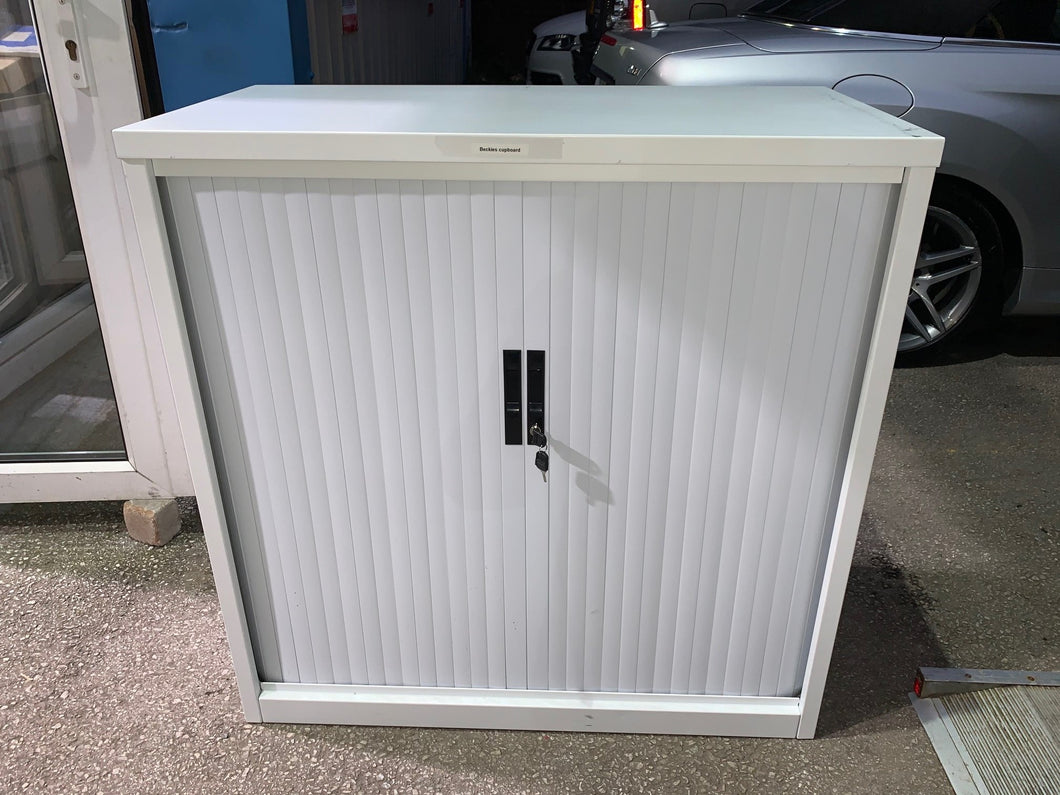 Silverline White Tambour Cupboard - 1115mm - Flogit2us.com