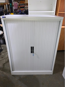 Silverline White Tambour Cupboard - 1330mm - Flogit2us.com