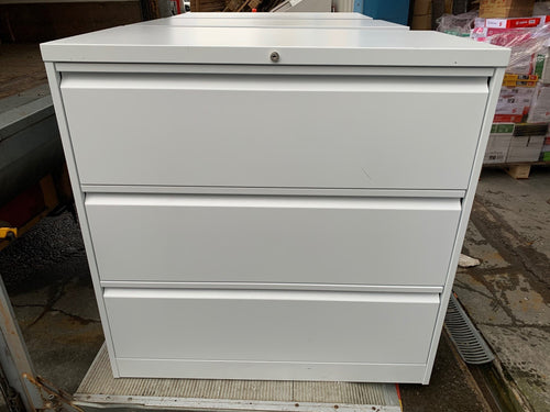 Silverline White 3 Drawer Lateral Filing Cabinet - Flogit2us.com