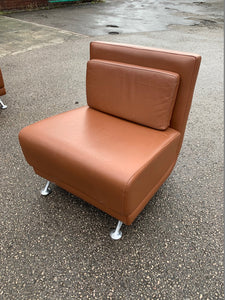 Brown Leather Reception/Break Out Chair - Flogit2us.com
