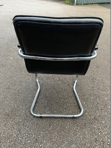 Leather Faced Cantilever Meeting Chair - Black - Flogit2us.com