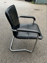 Load image into Gallery viewer, Leather Faced Cantilever Meeting Chair - Black - Flogit2us.com