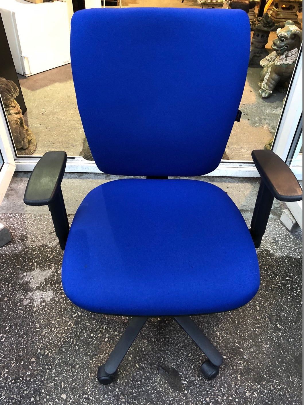 Blue High Back Operators Chair With Arms - Flogit2us.com