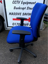 Load image into Gallery viewer, Blue High Back Operators Chair With Arms - Flogit2us.com