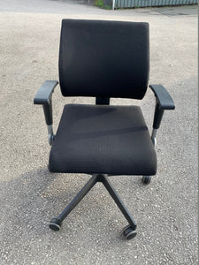 Black Curved Back Operator Chair With Arms - Flogit2us.com