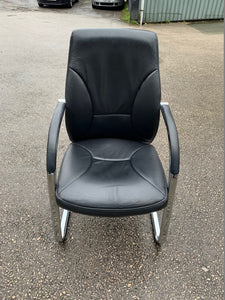 High Back Leather Cantilever Boardroom Chair - Black - Flogit2us.com
