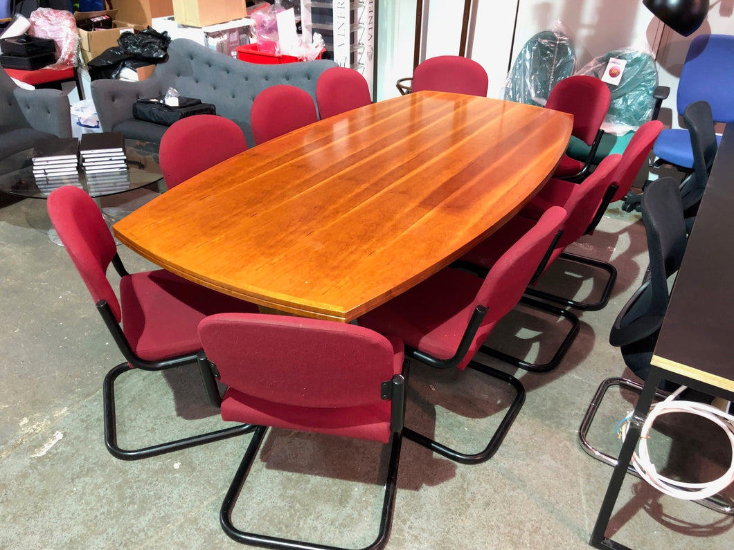 8-10 Person Meeting Table With Maroon Cantilever Chairs - Flogit2us.com