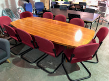 Load image into Gallery viewer, 8-10 Person Meeting Table With Maroon Cantilever Chairs - Flogit2us.com