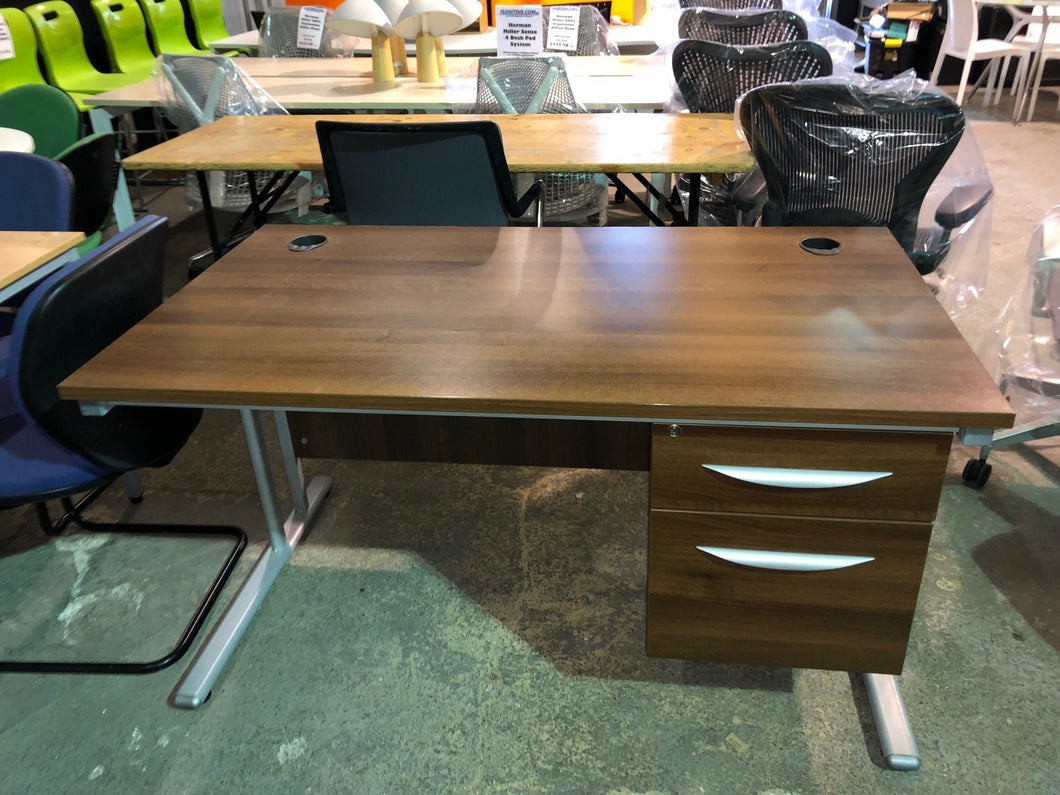 1400mm Walnut Straight Desk With Built-in Pedestal - Flogit2us.com