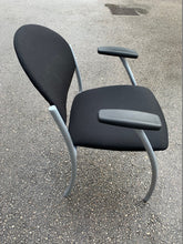 Load image into Gallery viewer, Fabric Meeting Room/Reception Chair With Arms - Black - Flogit2us.com
