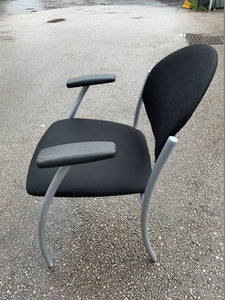 Fabric Meeting Room/Reception Chair With Arms - Black - Flogit2us.com