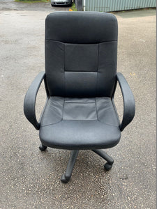 Leather Faced Manager's Chair - Black - Flogit2us.com