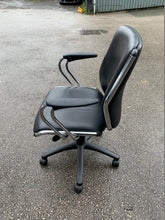Load image into Gallery viewer, Leather Faced Manager's Chair With Chrome Frame - Black - Flogit2us.com