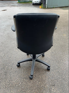 Leather Faced Manager's Chair With Chrome Frame - Black - Flogit2us.com
