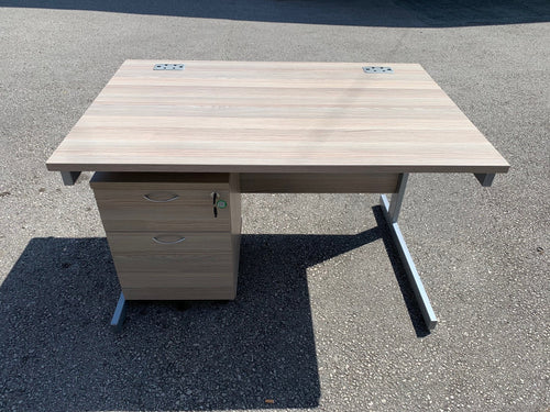 1200mm Grey Oak Straight Desk