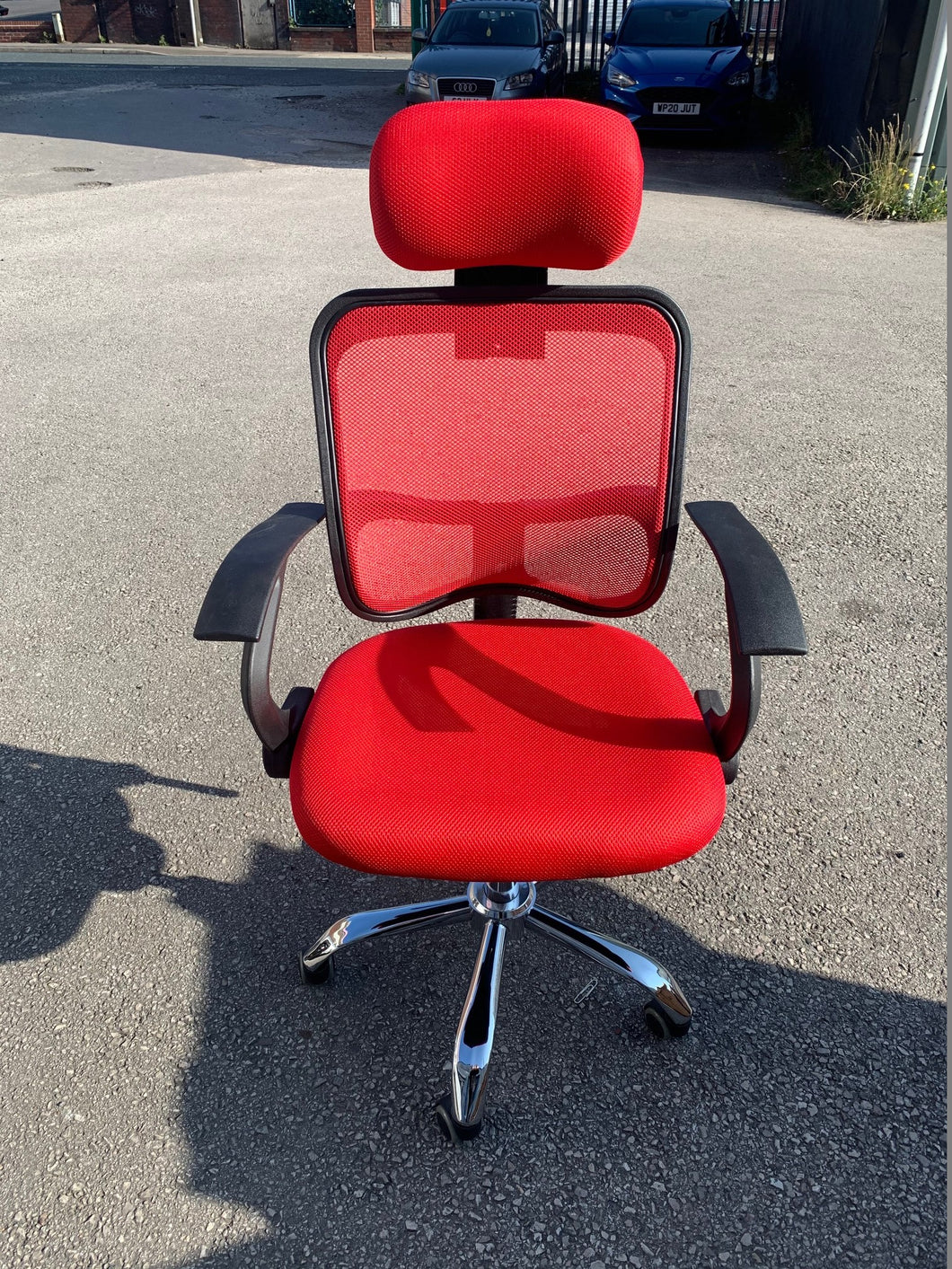 Red High Back Mesh Office Chair