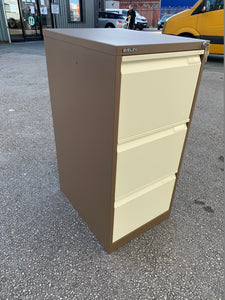 Bisley BS3E Flush 3 Drawer Coffee & Cream Filing Cabinet