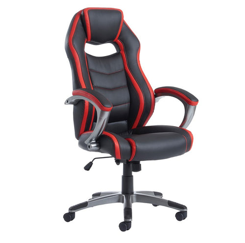 Jensen High Back Executive Chair - Black And Red Faux Leather - Flogit2us.com