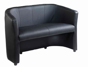 London Reception Sofa Black Faux Leather - Flogit2us.com
