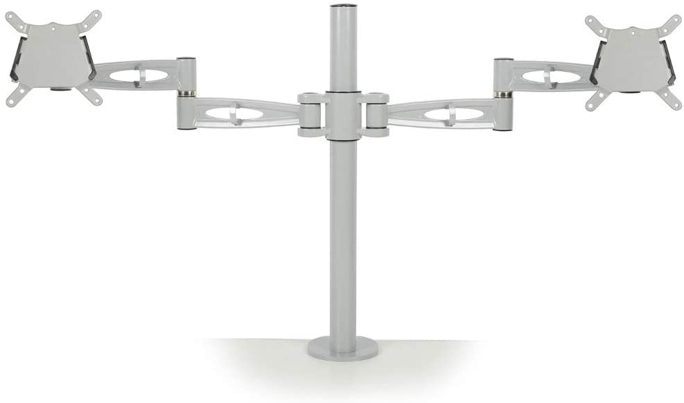Metalicon PMA522-SV Kardo Pole Mounted Monitor Arms for Twin Screens - Silver - Flogit2us.com