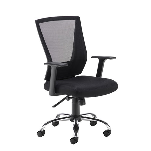 Miller Black Mesh Back Operator Chair With Black Fabric Seat and Chrome Base - Flogit2us.com
