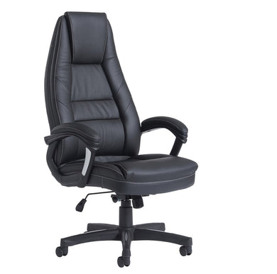 Noble High Back Managers Chair - Black Faux Leather - Flogit2us.com