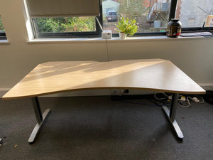 1800mm Double Wave Desk - Maple - Flogit2us.com