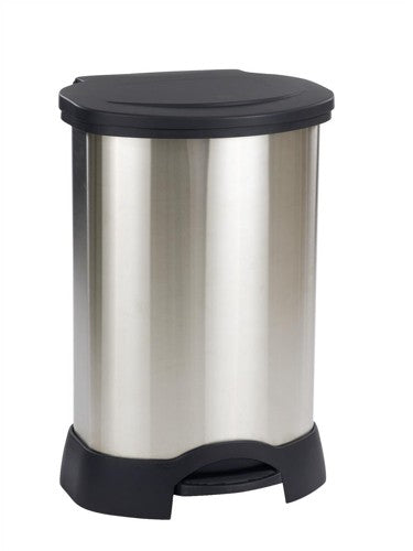 Rubbermaid Step-On Container 136L Stainless Steel Black - Flogit2us.com