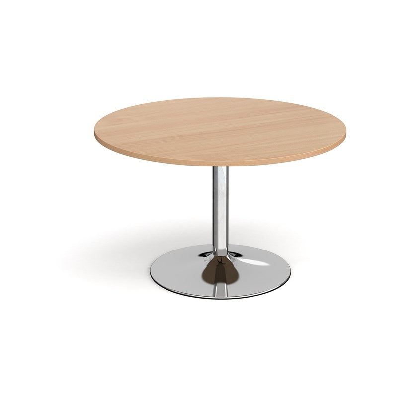 Trumpet Base Circular Boardroom Table - Chrome Base - Flogit2us.com