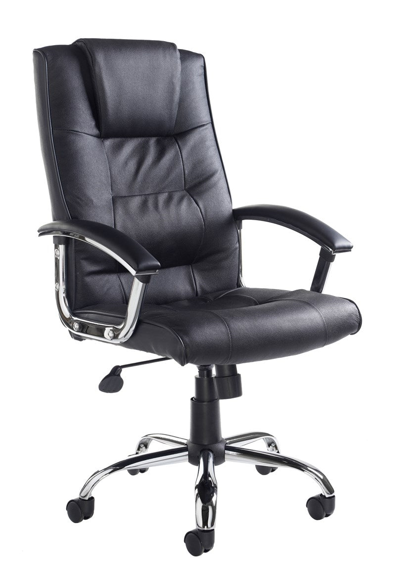 Somerset High Back Managers Chair - Black Leather Faced - Flogit2us.com