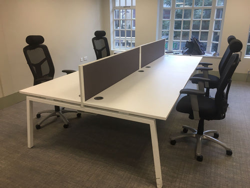 4 Person White Pod System (1600mm Desks) - Flogit2us.com