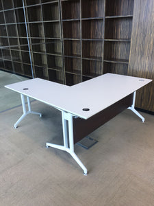 White Executive L-Shaped Office Desk - Flogit2us.com