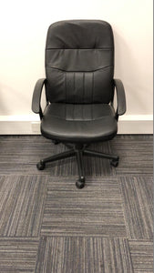 Black Leather Faced Executive Chair