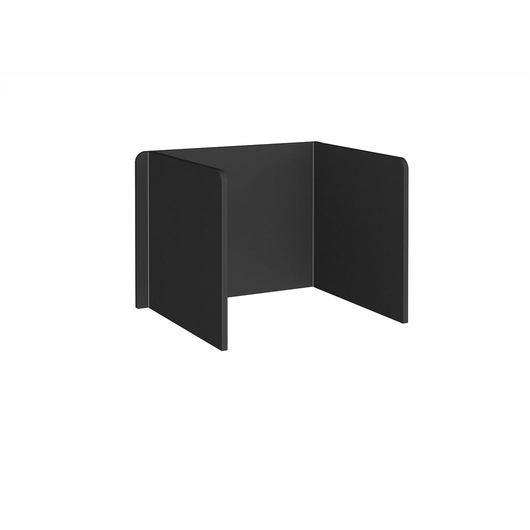 Free Standing 3 Sided 700mm High Fabric Desktop Screen - Black