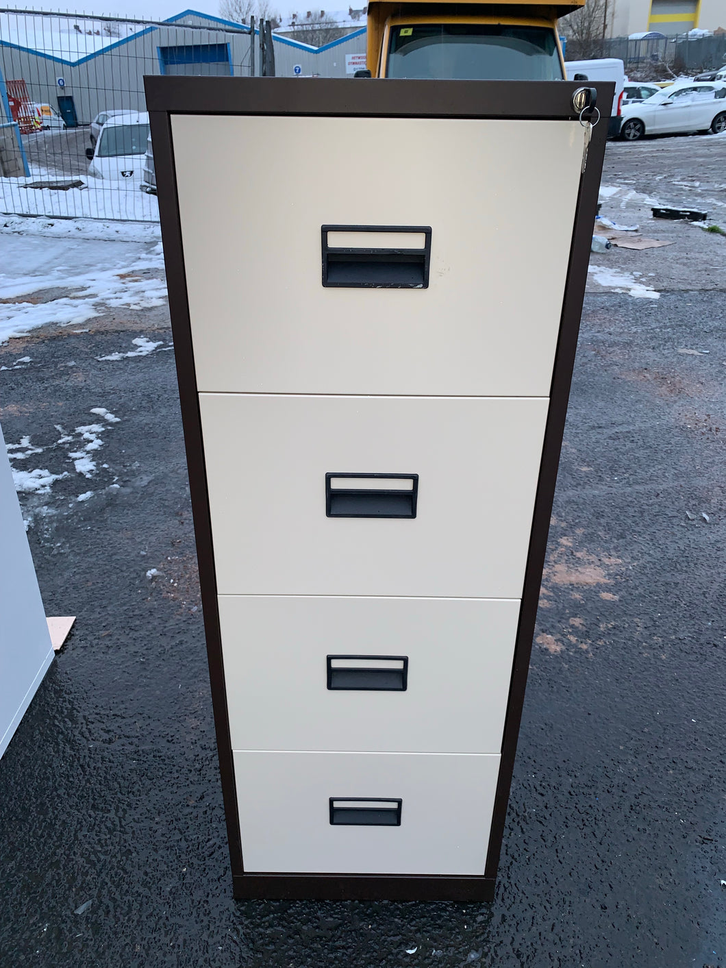 Talos 4 Drawer Coffee & Cream Filing Cabinet (New Slight Second) - Flogit2us.com