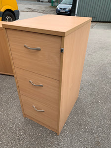 3 Drawer Wooden Filing Cabinet Beech