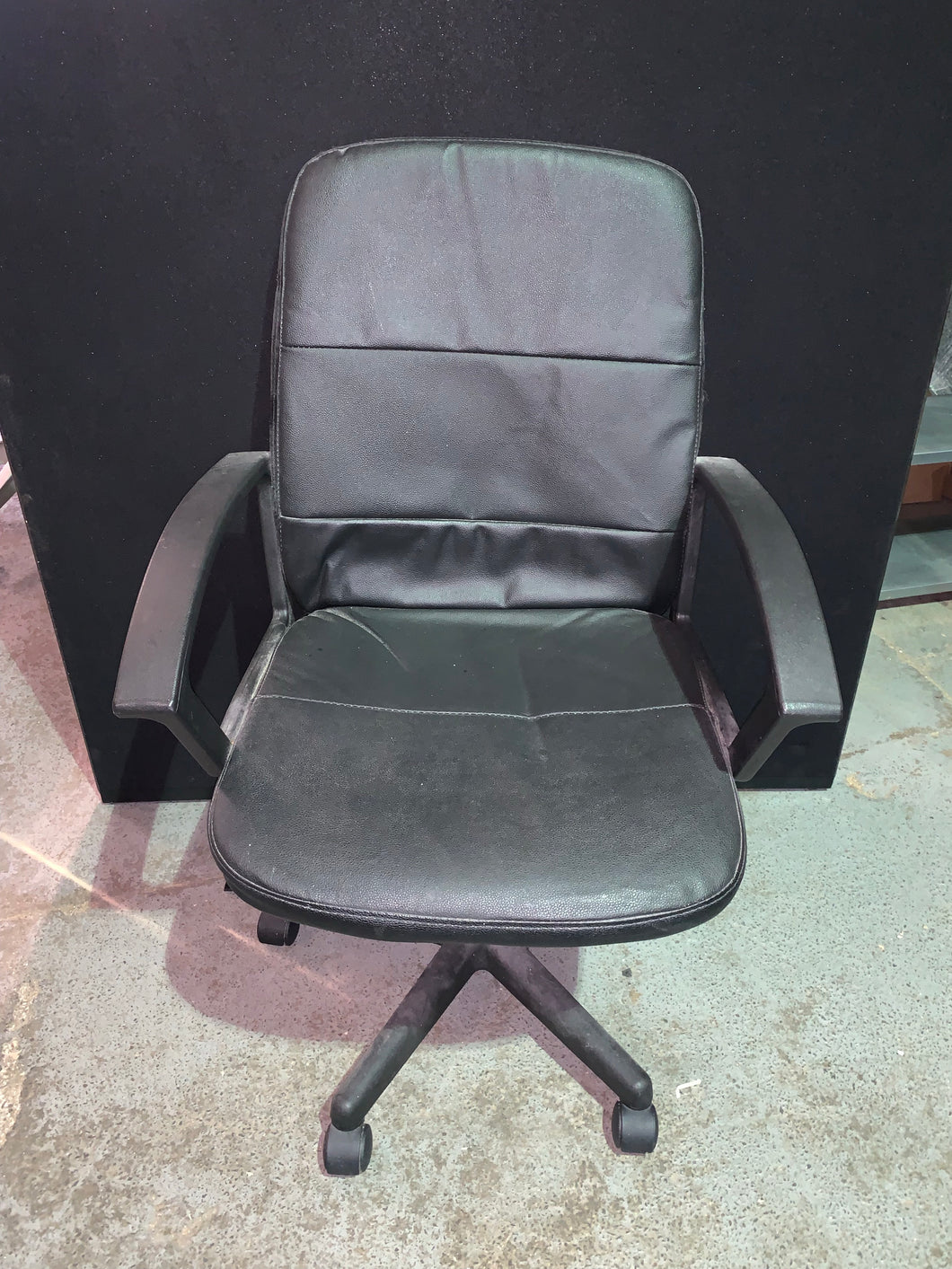 Black Faux Leather Office Chair With Arms - Flogit2us.com