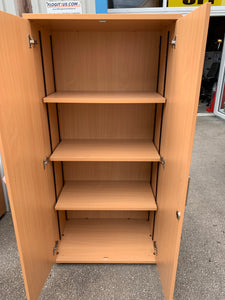 Tall Beech Wooden Office Cupboard - Flogit2us.com