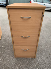Load image into Gallery viewer, 3 Drawer Wooden Filing Cabinet Beech