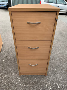 3 Drawer Wooden Filing Cabinet Beech - Flogit2us.com